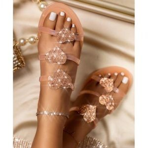 Shoes - Embellished Jelly Heart Slides in Nude